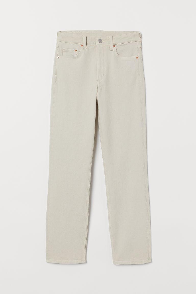 H & M - 復古貼身高腰九分牛仔褲 - 白色