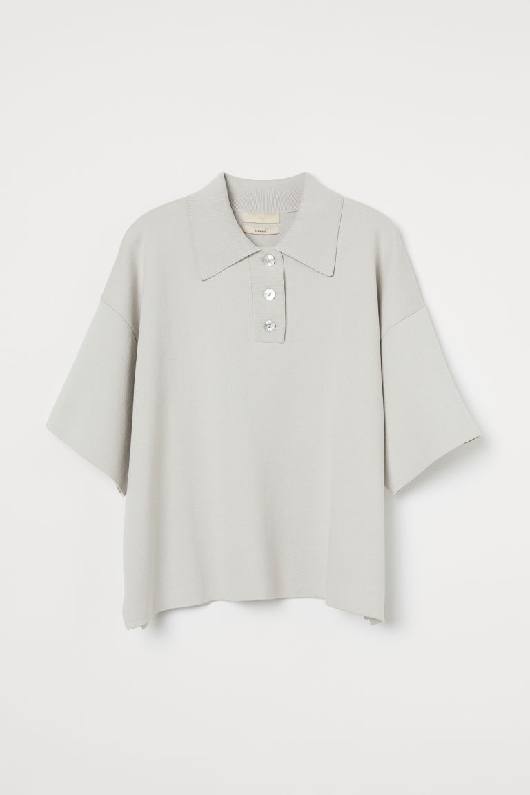 H & M - 真絲混紡精織上衣 - 白色