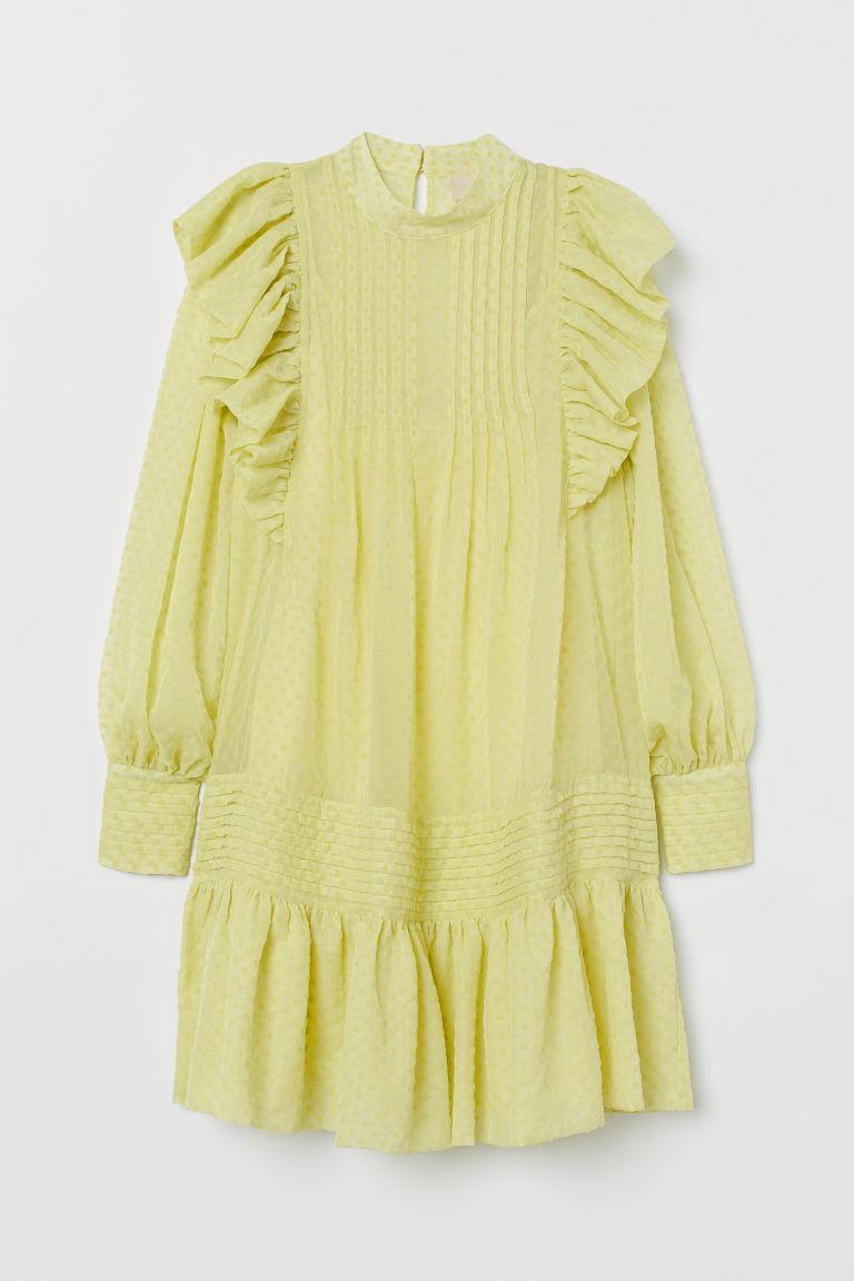 H & M - 荷葉邊長衫 - 黃色