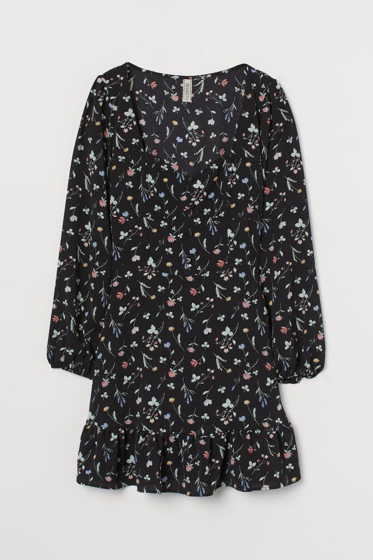 H & M - 桃心領洋裝 - 黑色