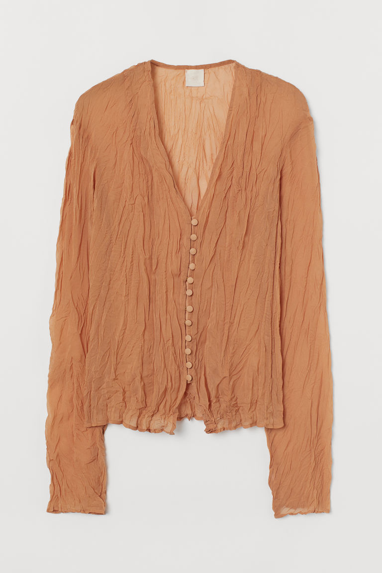 H & M - 透氣女衫 - 米黃色