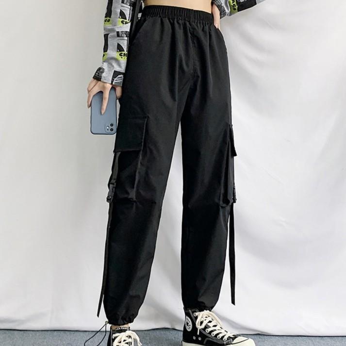休閒長褲 鬆緊褲子 韓版顯瘦高腰bf運動束腳褲 百搭工裝長褲