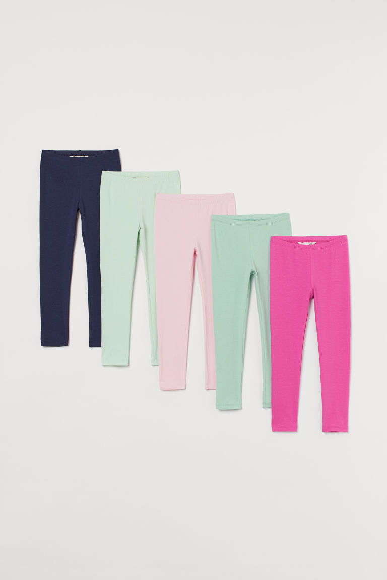 H & M - 5件入平紋內搭褲 - 粉紅色