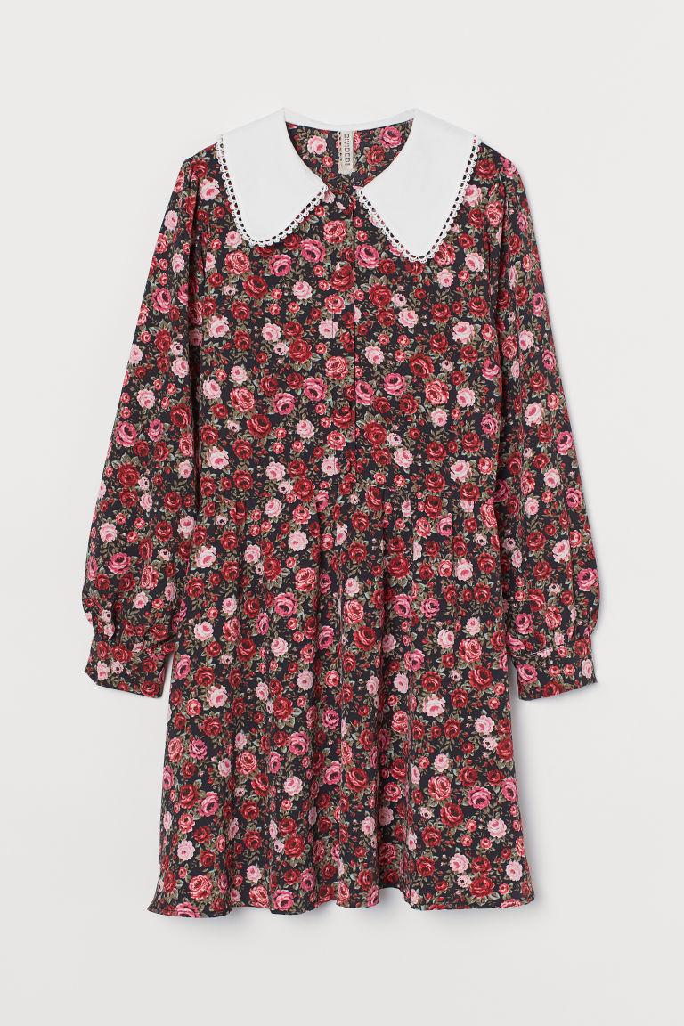 H & M - 大衣領洋裝 - 黑色