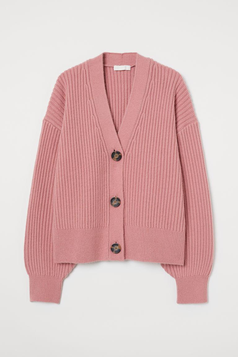 H & M - 羅紋針織開襟衫 - 粉紅色