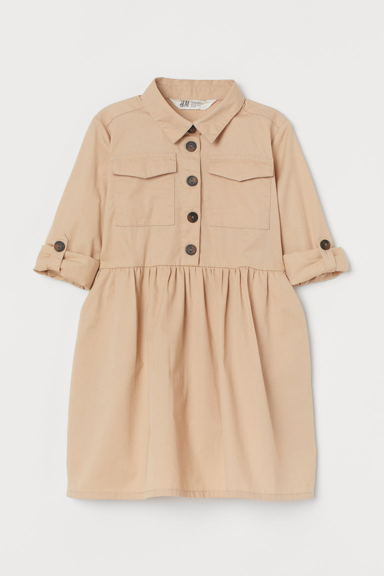 H & M - 襯衫式洋裝 - 米黃色