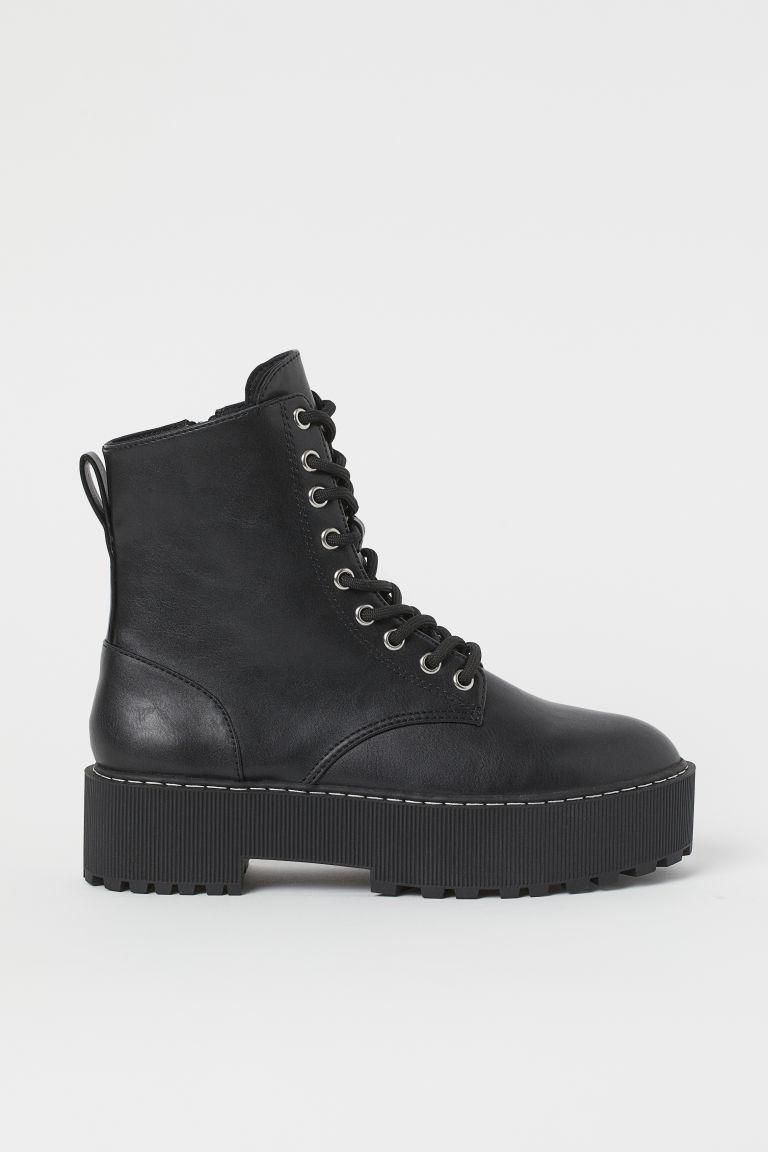 H & M - 厚底靴 - 黑色