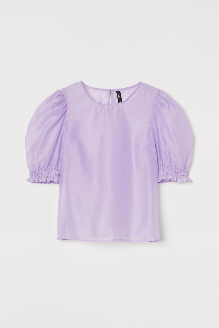 H & M - 公主袖女衫 - 紫色