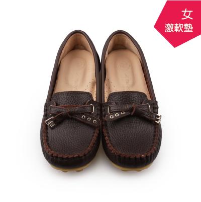 【A.MOUR 經典手工鞋】頂級牛革豆豆鞋 - 可可咖(1209)