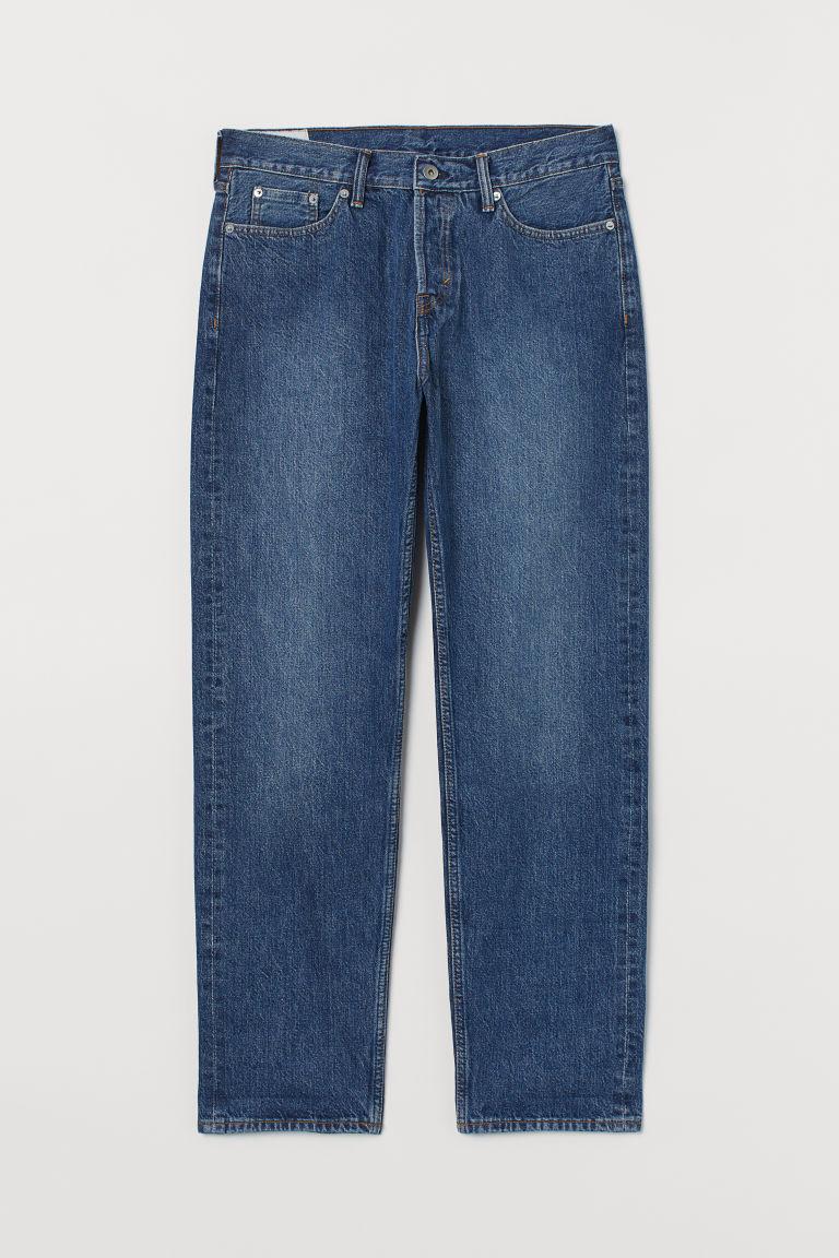 H & M - 休閒布邊牛仔褲 - 藍色