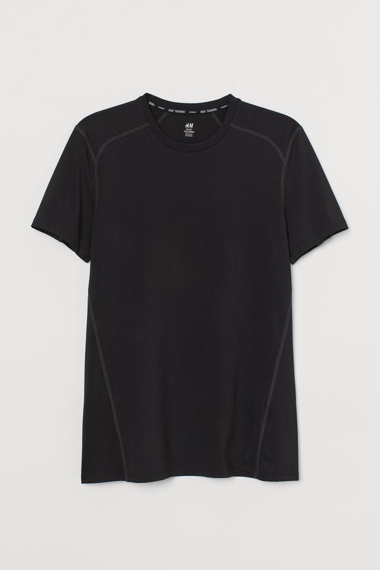 H & M - 健美合身剪裁運動上衣 - 黑色