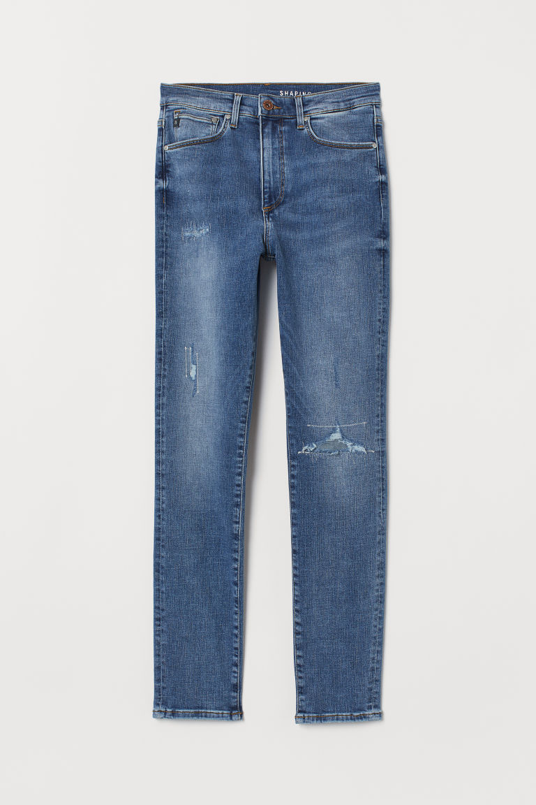 H & M - 塑身高腰九分牛仔褲 - 藍色