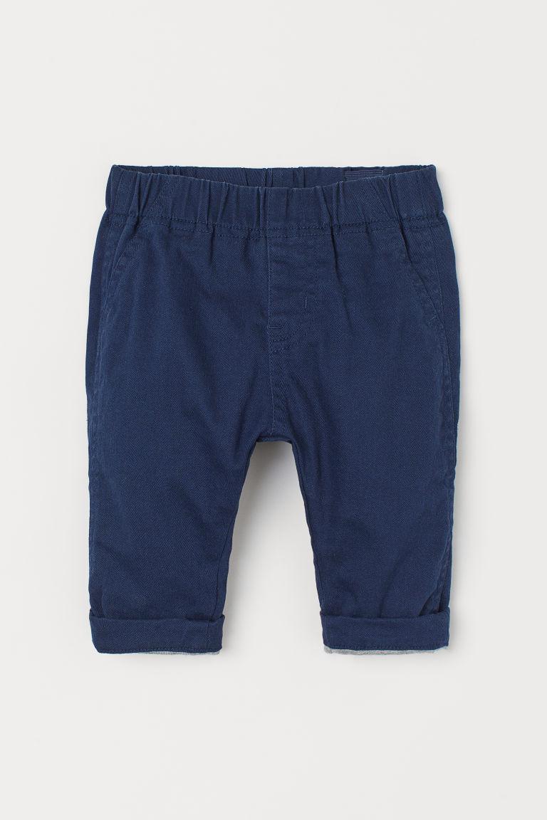 H & M - 鋪內裡鬆緊式長褲 - 藍色