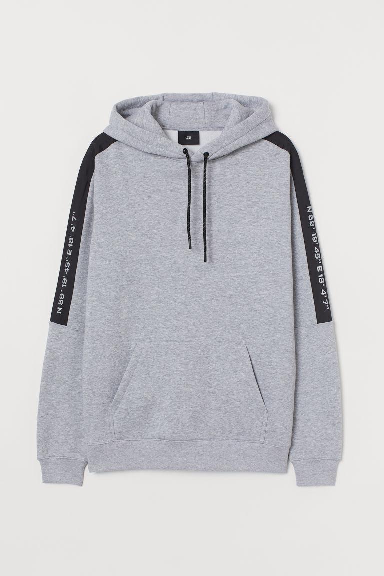 H & M - 拼布細節連帽上衣 - 灰色