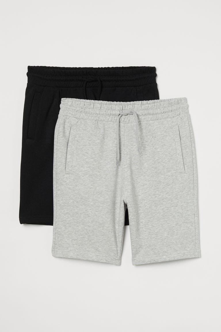 H & M - 2件入合身運動短褲 - 灰色