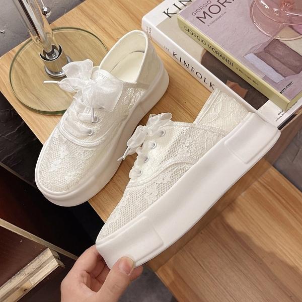 厚底鞋.浪漫甜美蕾絲繫帶休閒圓頭包鞋.白鳥麗子