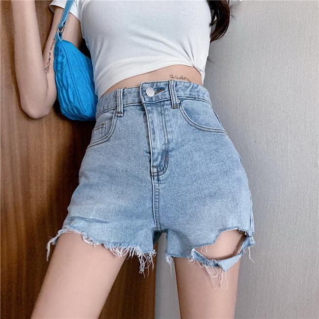 FOFU-高腰破洞不規則毛邊修身提臀短褲高腰百搭牛仔褲【08SG05642】