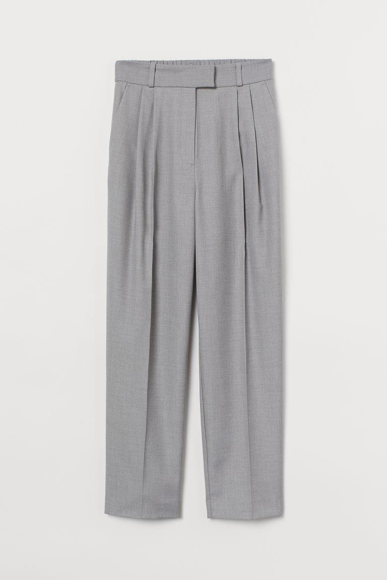 H & M - 褶線長褲 - 褐色