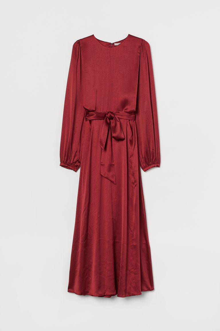 H & M - 綢緞洋裝 - 紅色
