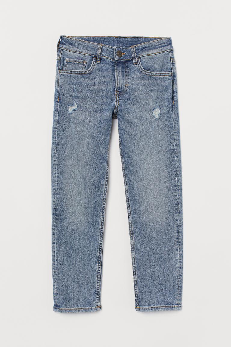 H & M - 舒適彈性貼身牛仔褲 - 藍色