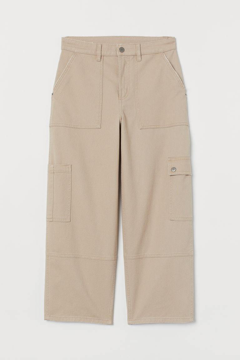 H & M - 斜紋九分褲 - 米黃色