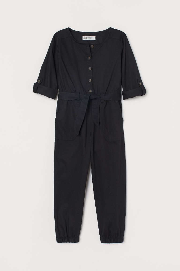 H & M - 棉質連身工作服 - 黑色