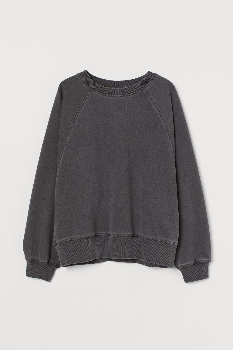 H & M - 棉質混紡運動衫 - 灰色