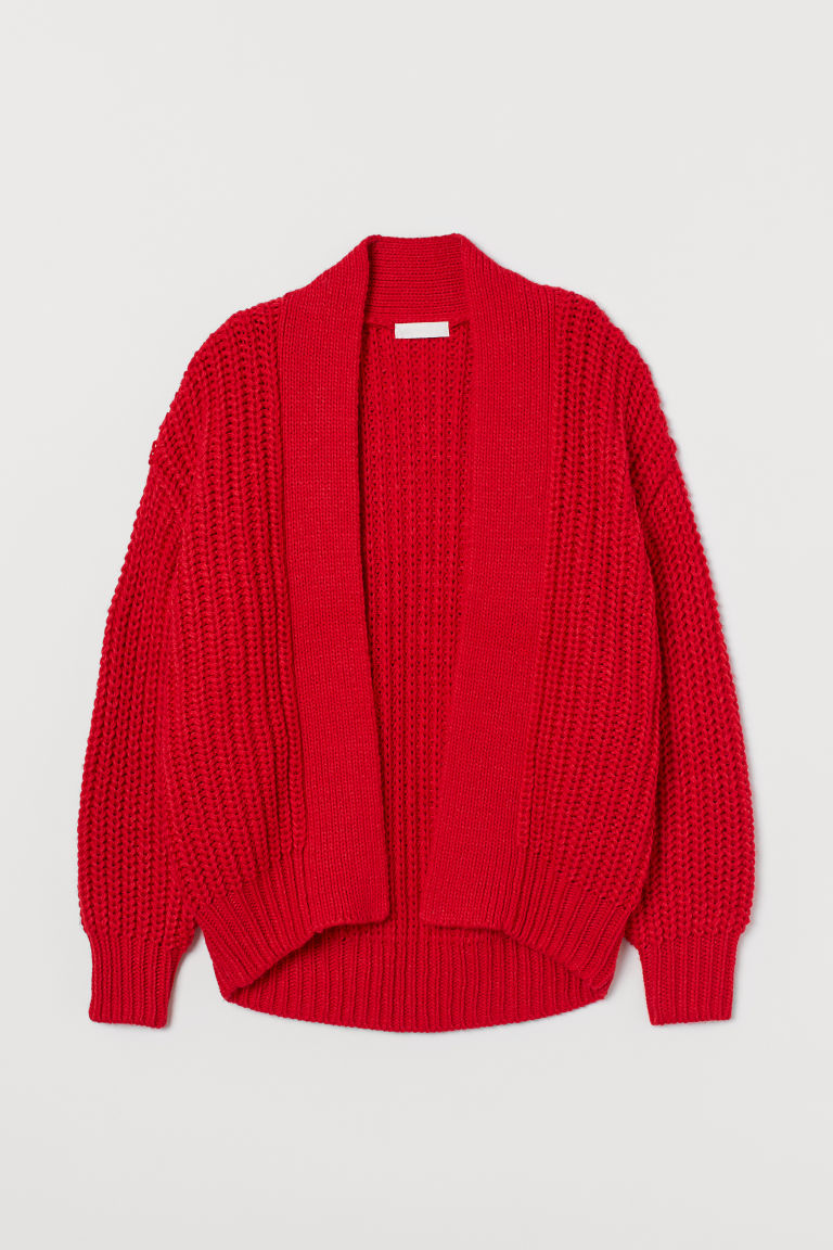 H & M - 羅紋針織開襟衫 - 紅色