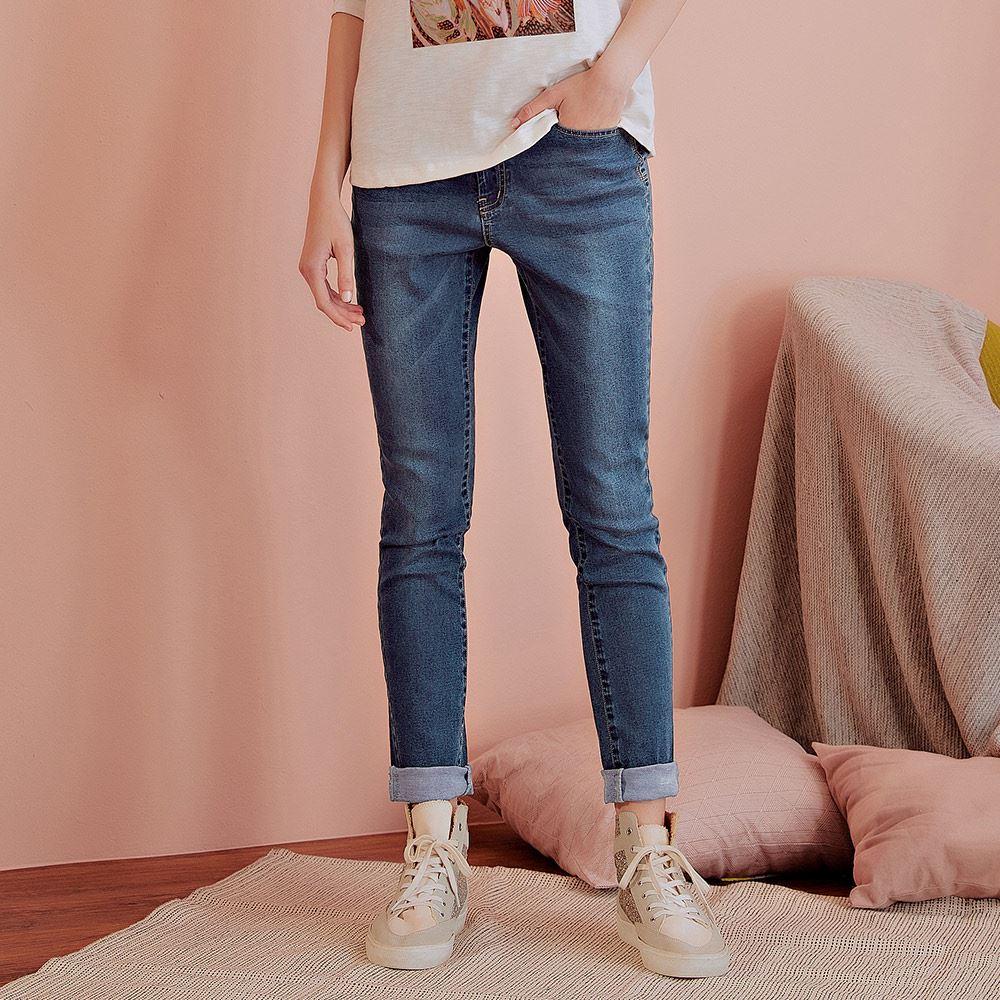 OUWEY歐薇 彈性修身窄管牛仔褲(藍)J59637