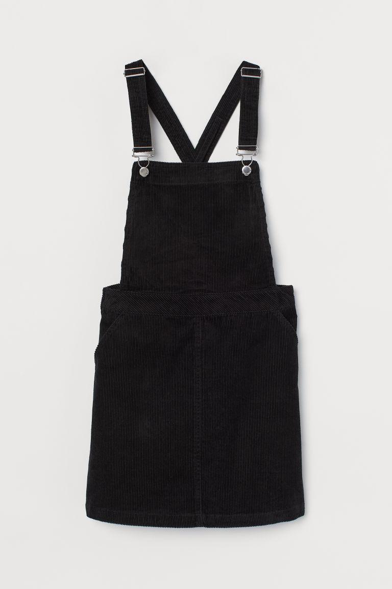 H & M - 絨布吊帶裙 - 黑色