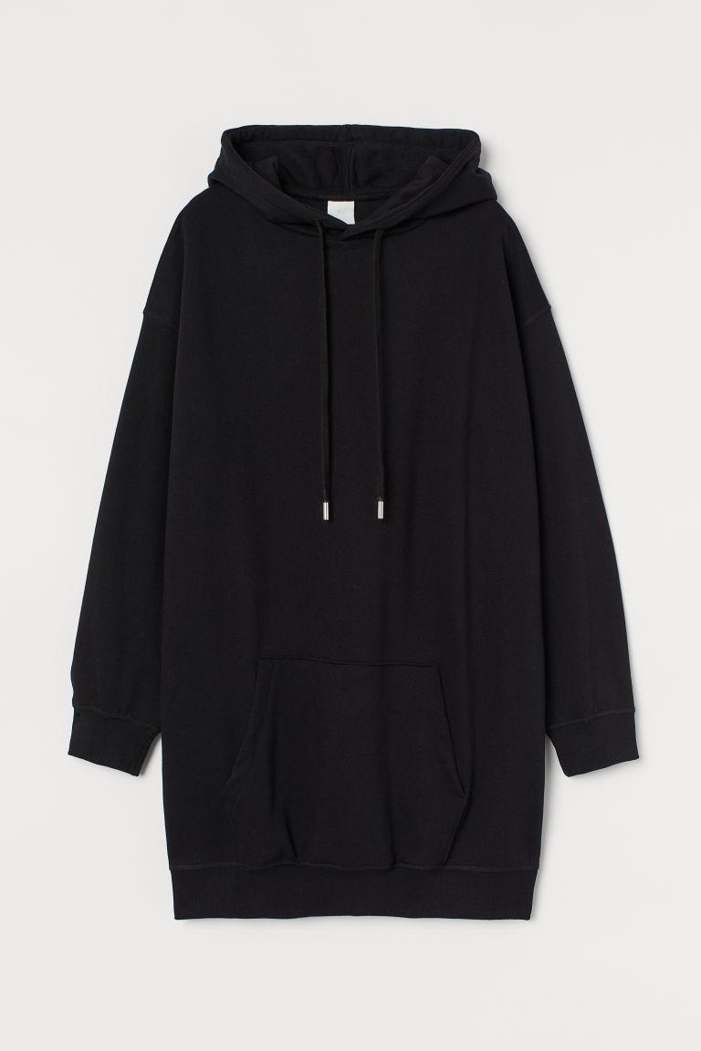 H & M - 長版連帽上衣 - 黑色