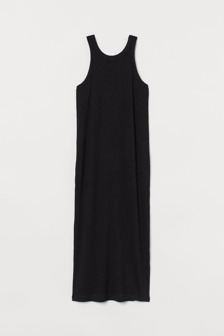 H & M - 羅紋洋裝 - 黑色