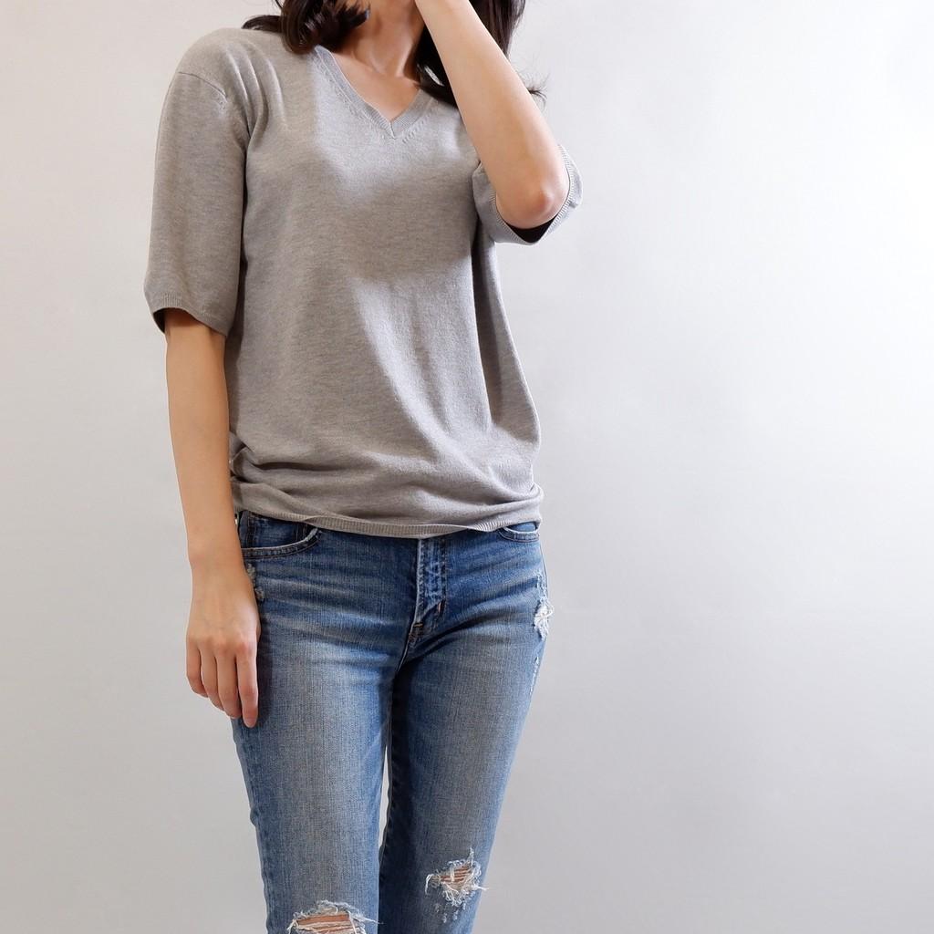 簡約素雅短袖毛衣-淺灰色Lalajuly