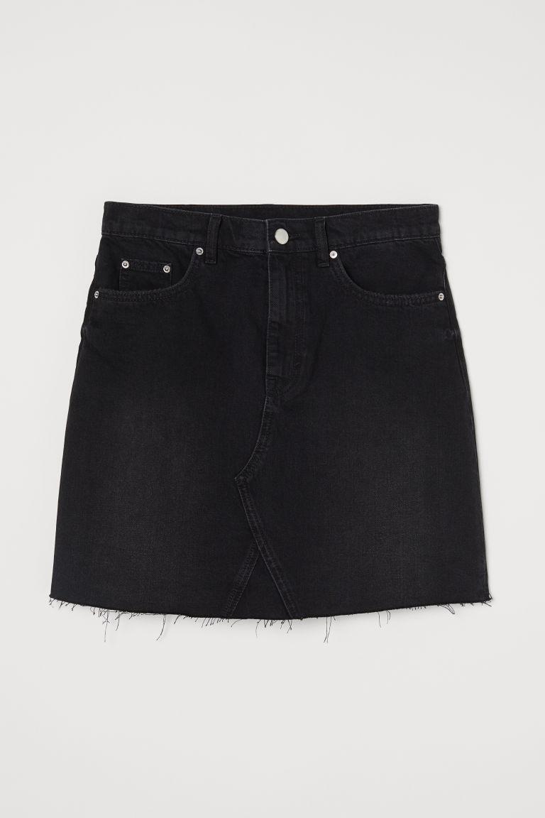 H & M - 丹寧牛仔裙 - 黑色