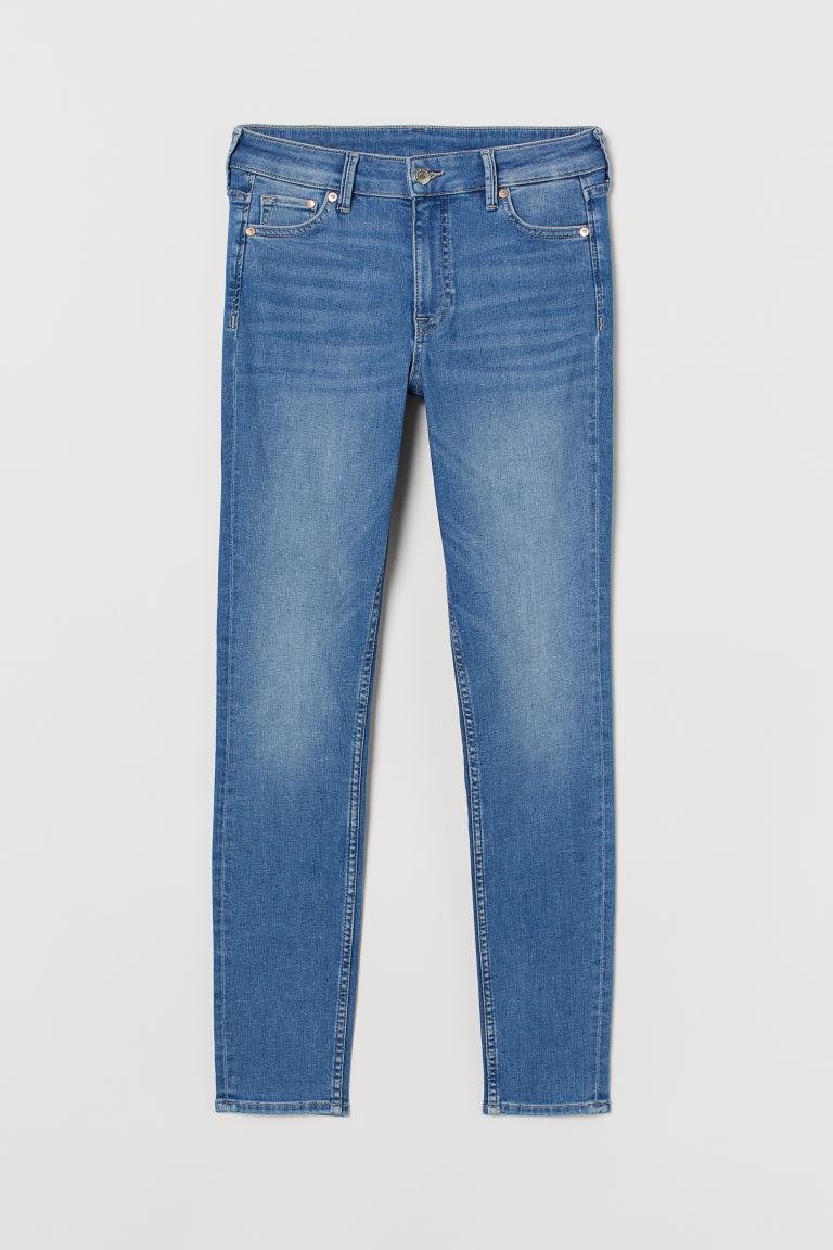 H & M - 窄管中腰九分牛仔褲 - 藍色