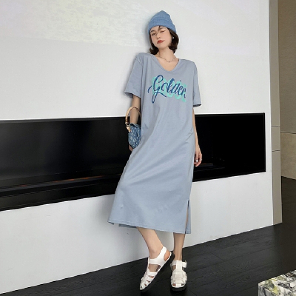 V領直筒裙 韓版寬鬆顯瘦短袖洋裝休閒長裙大碼開叉連身裙6528DC109紅粉佳人