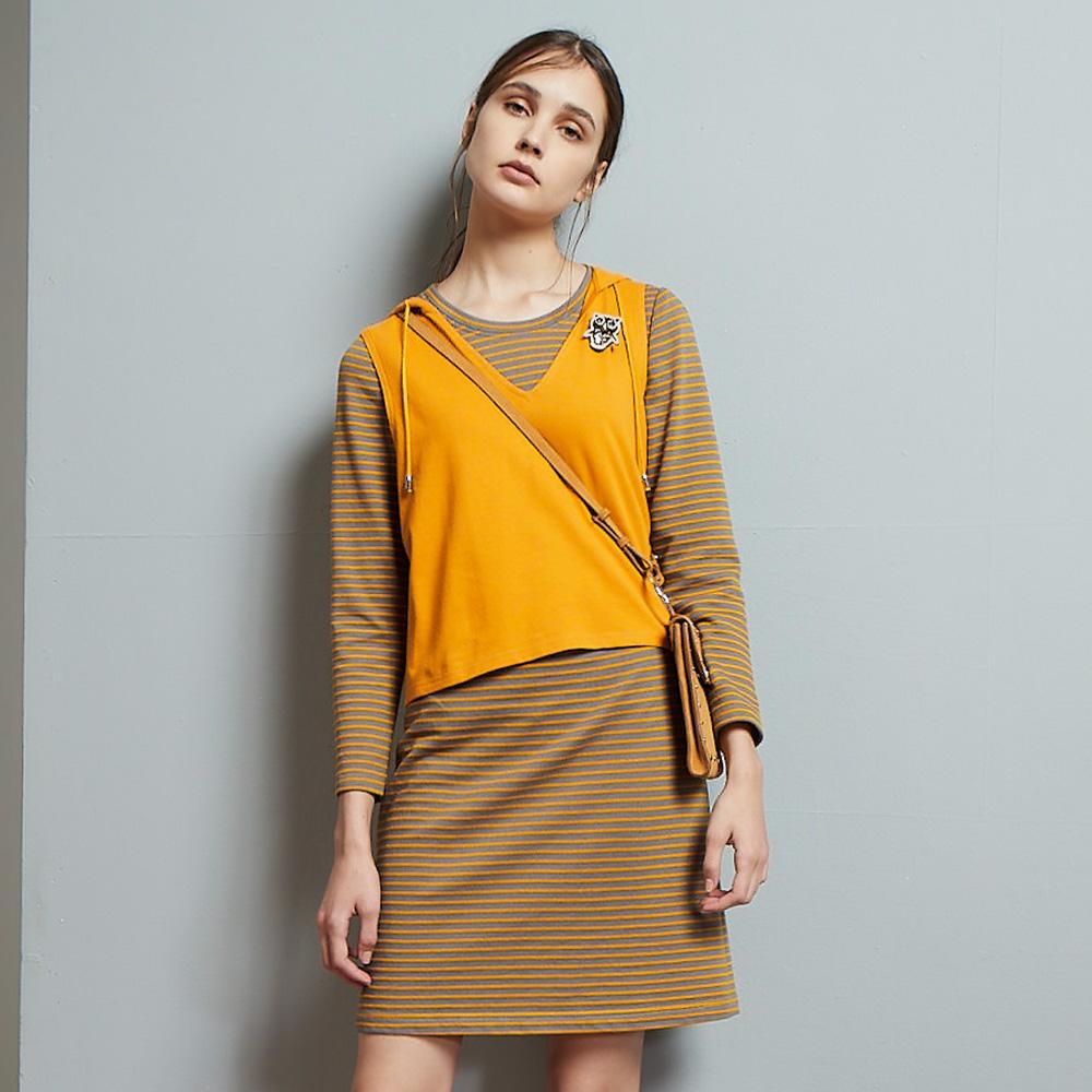 ILEY伊蕾 亮麗真兩件條紋衛衣布洋裝(藍/黃)952735