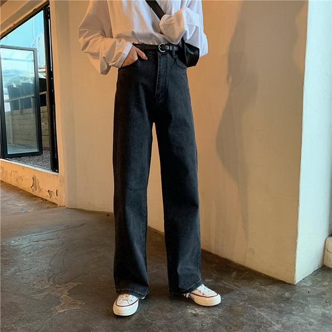 FOFU-復古港味炭黑色牛仔褲韓版高腰顯瘦水洗做舊長褲【08SG05905】