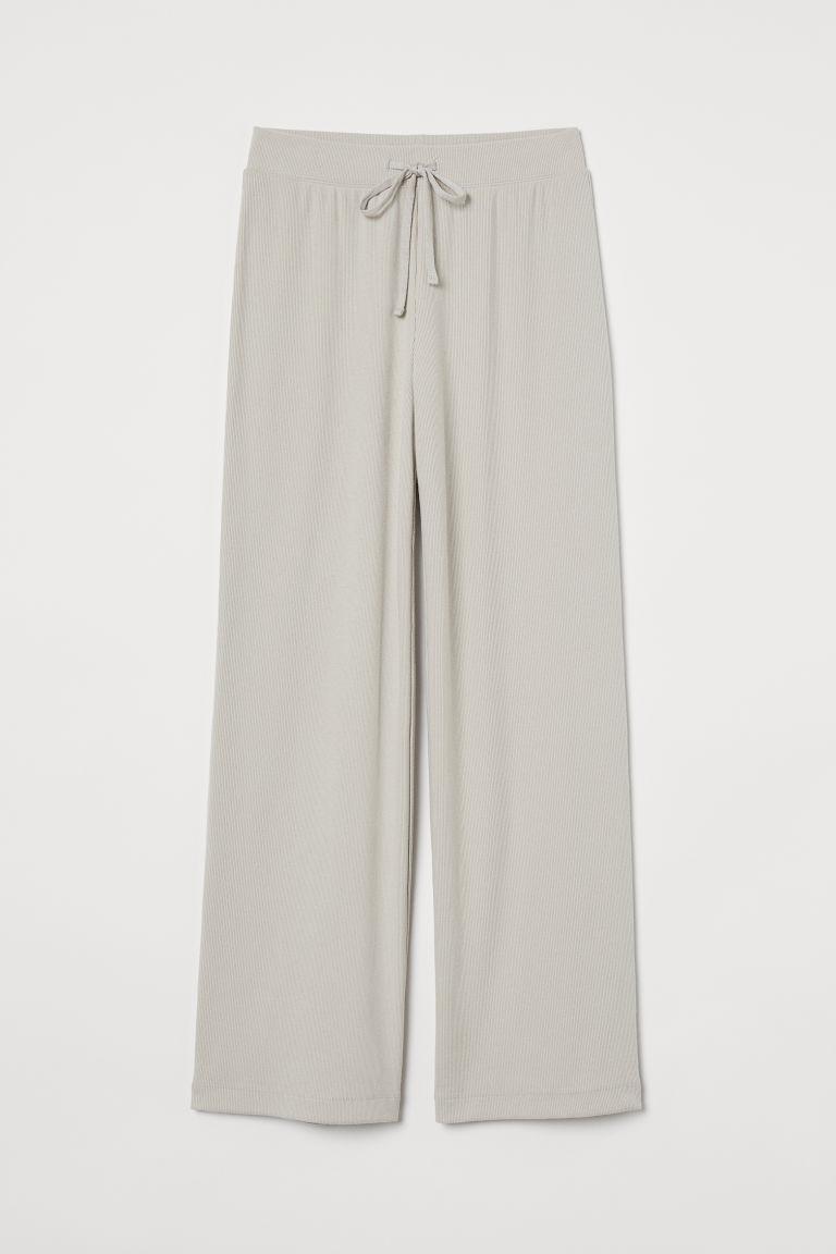 H & M - 羅紋長褲 - 米黃色