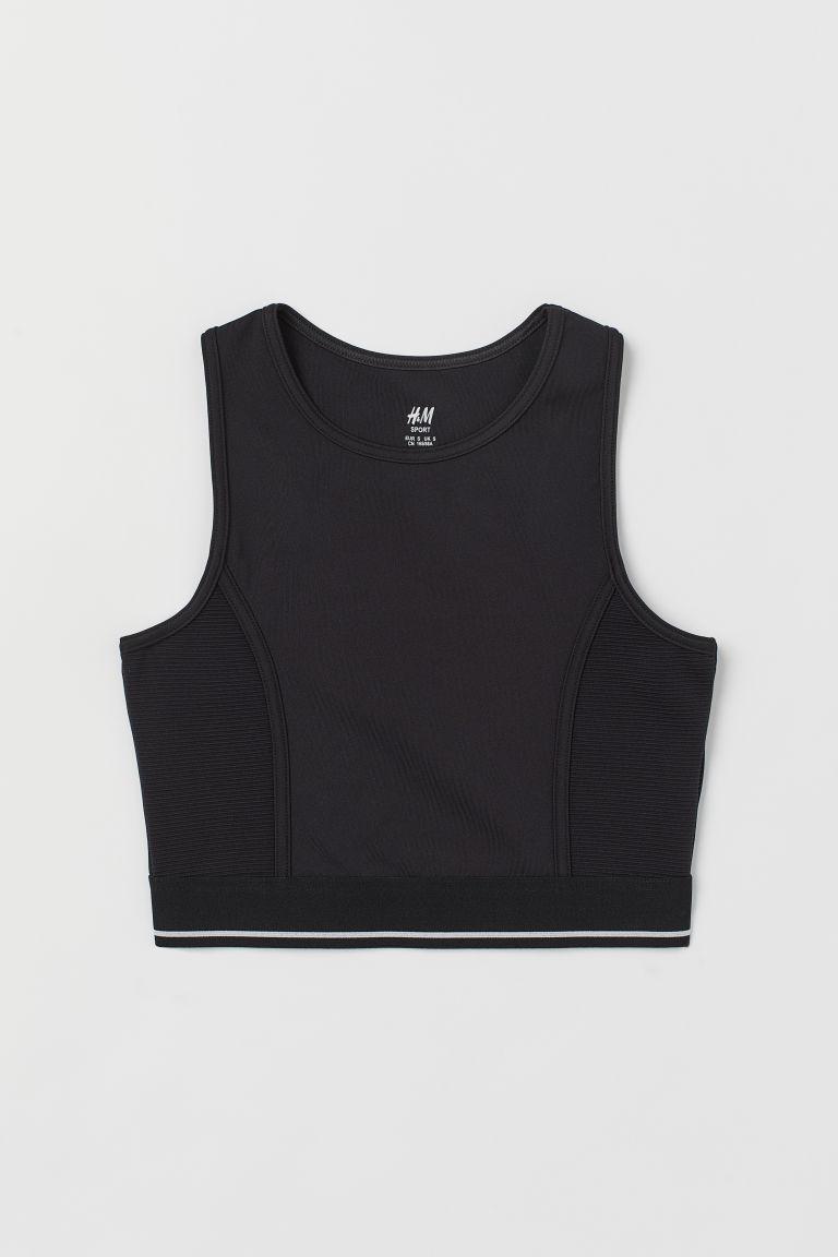 H & M - 短版運動上衣 - 黑色