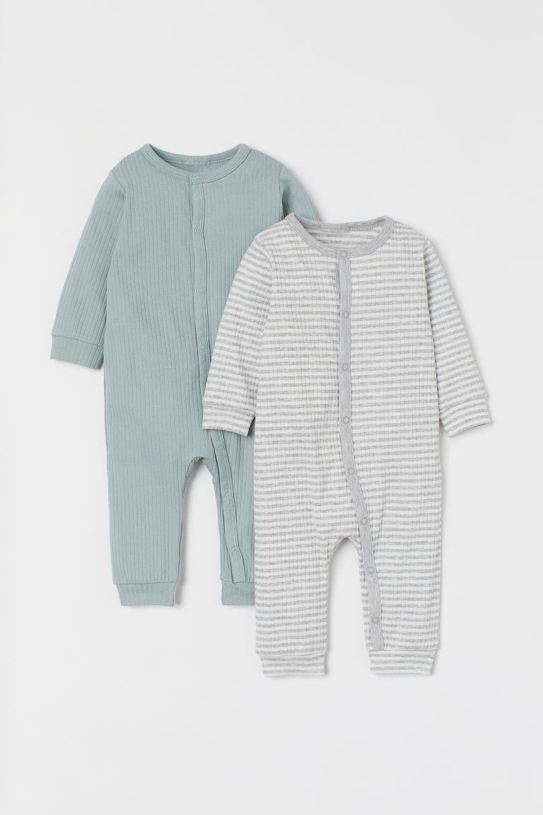 H & M - 2套入羅紋睡衣套裝 - 綠色