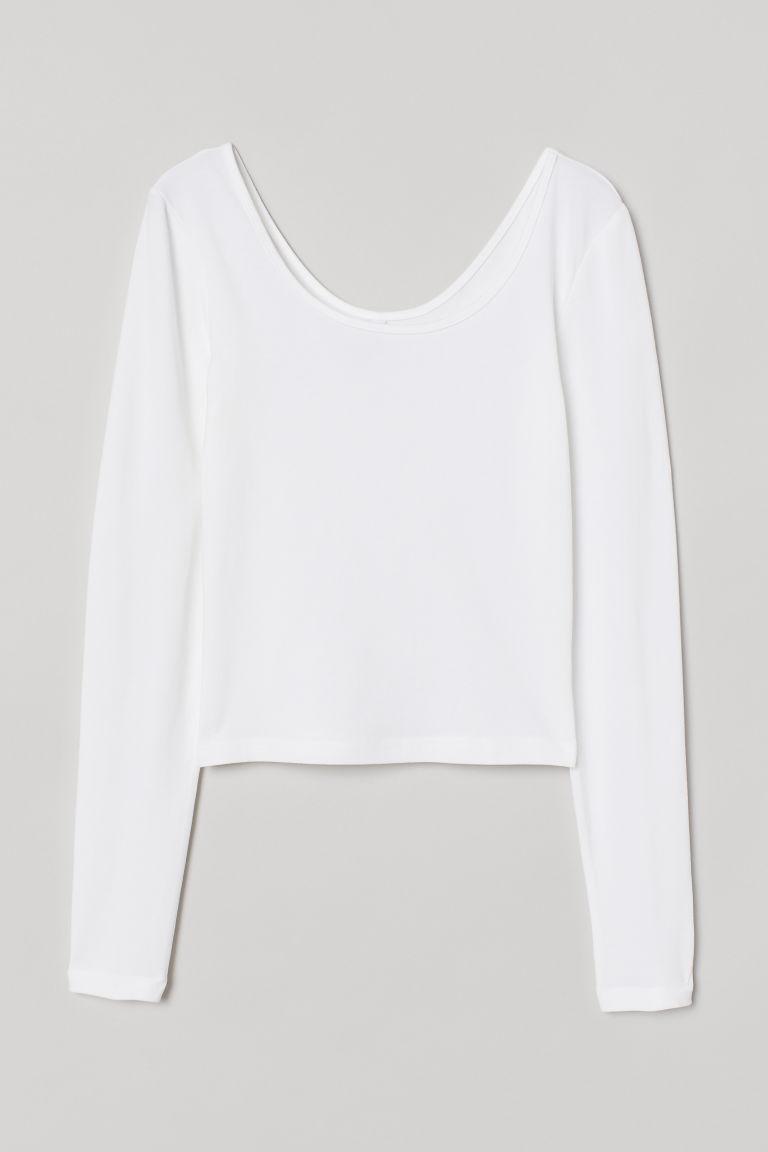 H & M - 棉質平紋上衣 - 白色