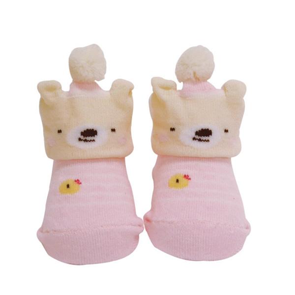 【日本製】【anano cafe】日本製 嬰幼兒小熊造型寶寶襪 條紋粉 SD-2900 - 日本製