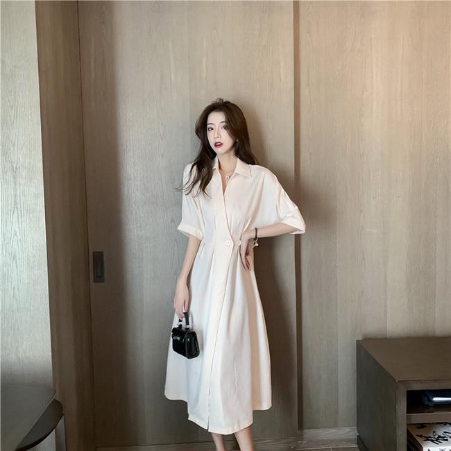 FOFU-連身裙法式長版氣質女神范五分袖收腰顯瘦過膝長裙女【08SG05711】