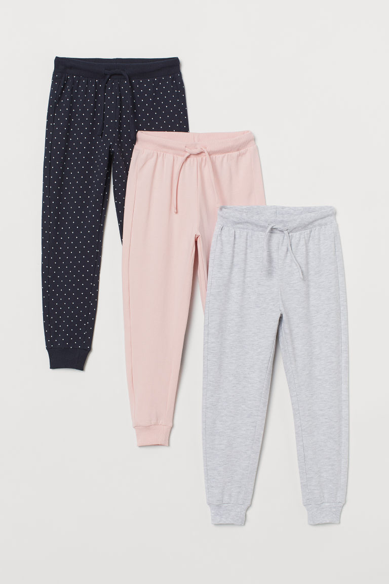 H & M - 3件入平紋慢跑褲 - 灰色