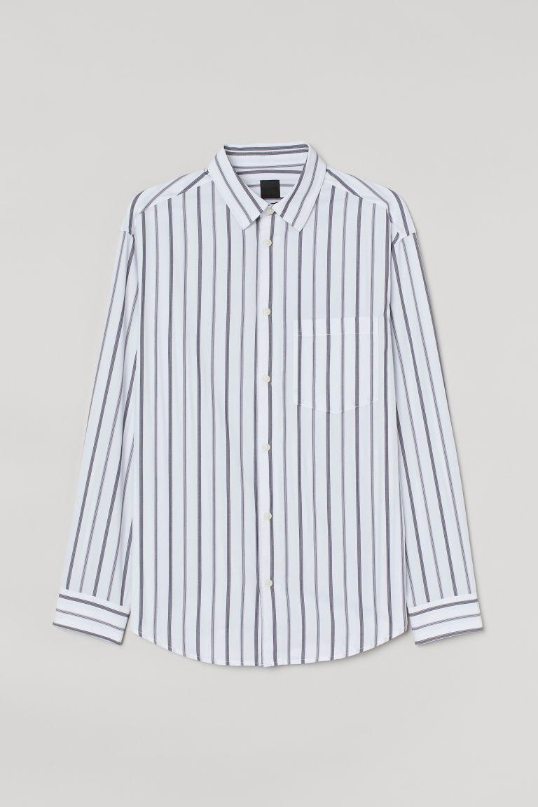 H & M - 休閒剪裁襯衫 - 灰色