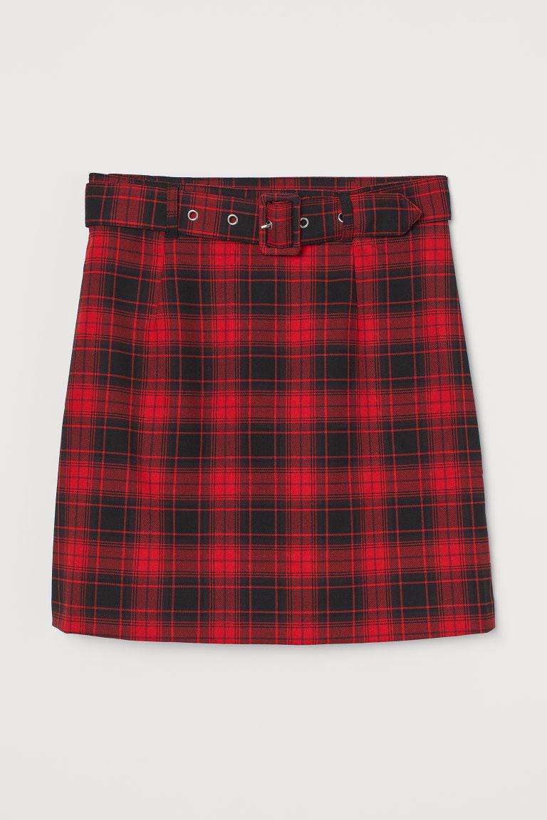 H & M - 配腰帶短裙 - 紅色