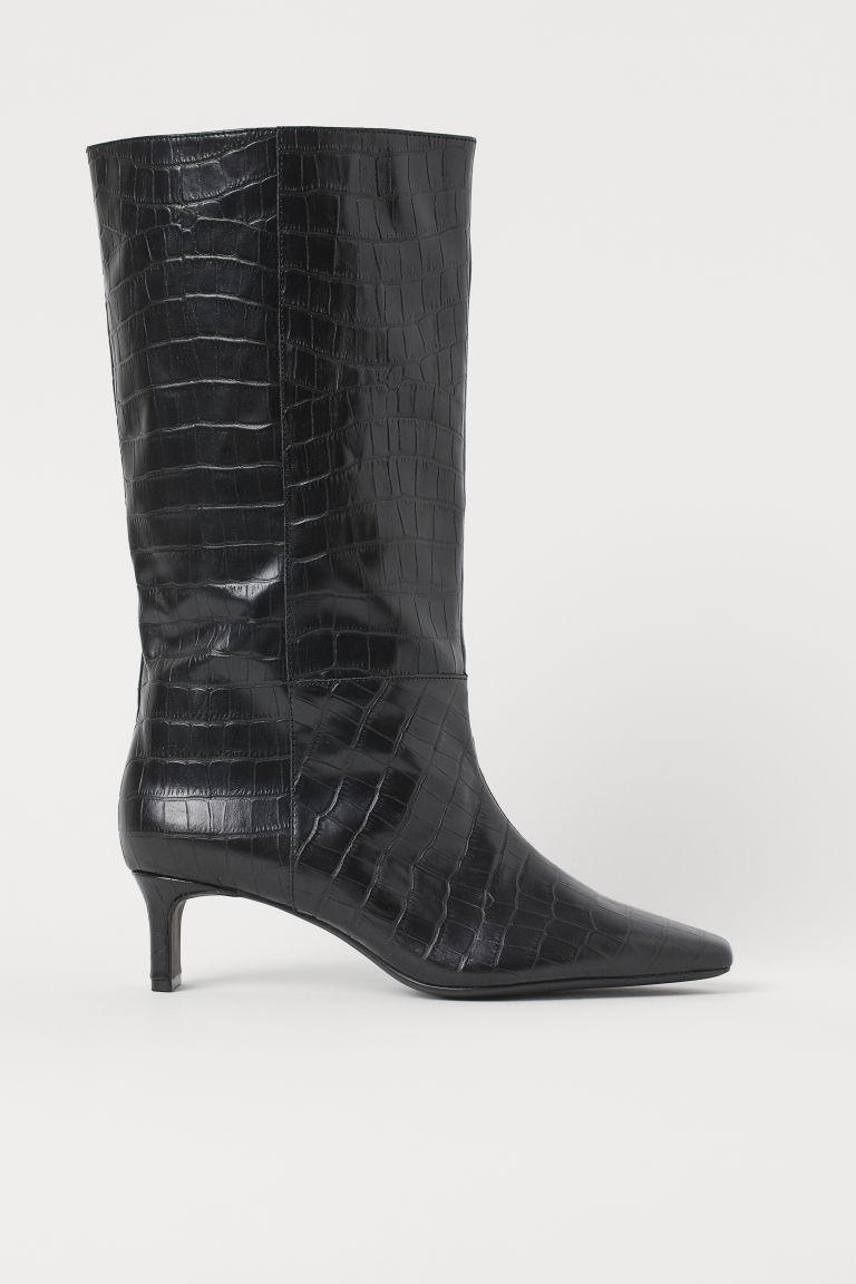 H & M - 真皮長筒靴 - 黑色