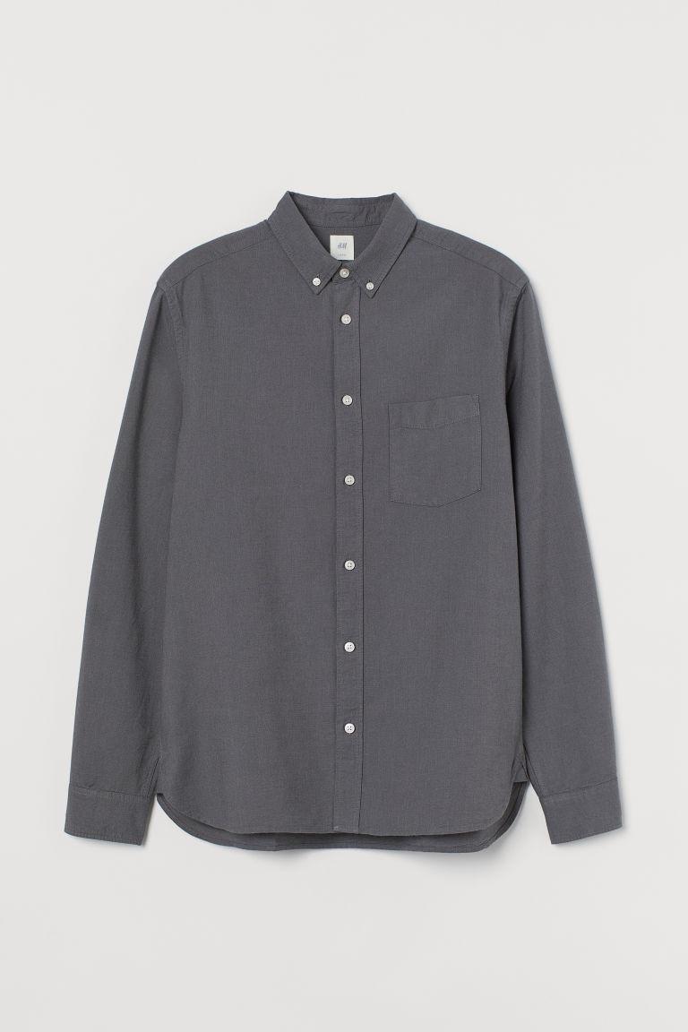 H & M - 標準剪裁牛津襯衫 - 灰色