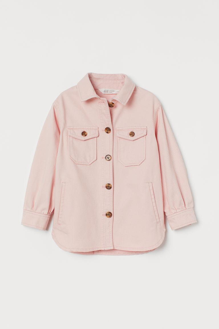 H & M - 棉質斜紋襯衫式外套 - 粉紅色